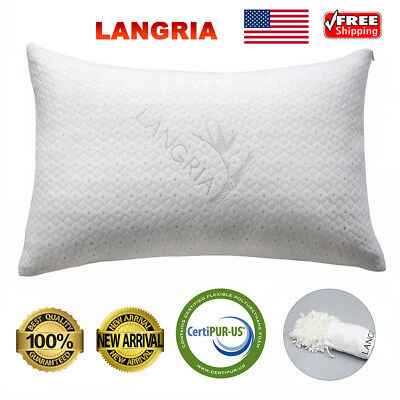 Bamboo Shredded Memory Foam Pillow Breathable Cover Sleeping Cushion Queen Size