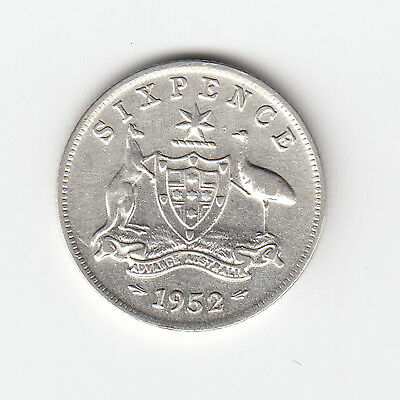 1952 Kgvi Australia Sixpence (50% Silver) - Very Nice Lower Mintage Coin
