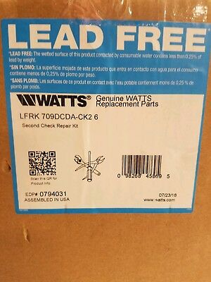 "Watts LFRK 709DCDA-CK2 6"" Second Check Repair Kit 0794031 Backflow 2nd CK Kit"