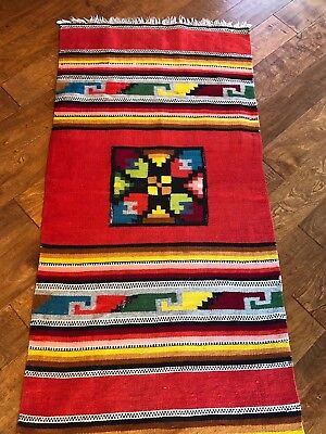 Vintage Southwest Native Hand Woven Rug Wall Hanging 27 x 55