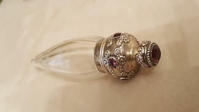 Antique Jeweled Blackington Sterling Silver LayDown Perfume Bottle