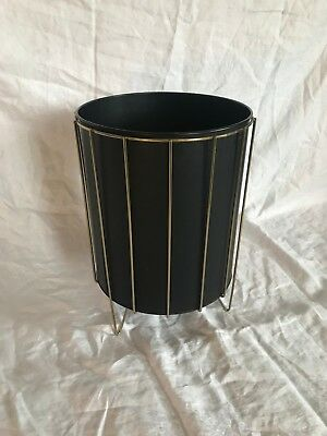 Vintage Mid Century Modern Trash Can Waste Basket 2 Piece Black & Gold Wire