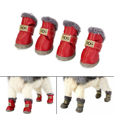 4pcs Set Pet Dog Shoes Boots Waterproof Anti-slip Fashion Gift Warm For Winter