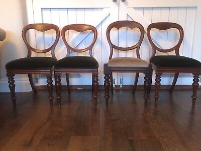 Four Antique Victorian Balloon Back Chairs