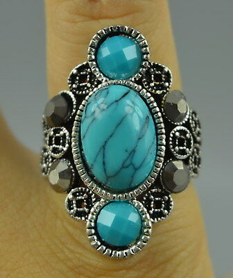 Collectible Old Tibet Silver Carve C0in Inlay Turquoise Wealthy Rare Fine Ring
