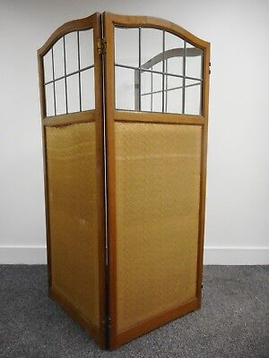 Beautiful antique arts & crafts oak screen room divider lead fitted glass 180cmW
