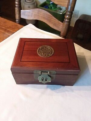 Vintage Asian Chinese Oriental Wood & Brass Jewelry Box