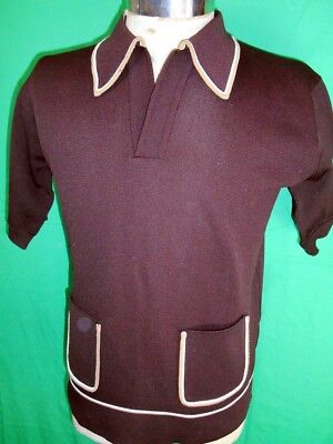 Vintage Groovy 1960s 70s Dark Brown Polyester Waltons Mod Style Polo Shirt Small