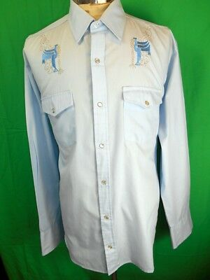Vintage Light Blue Embroidered Poly/Cotton Youngbloods Western Cowboy Shirt XL
