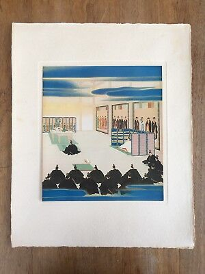 "c.1940s ""PROCLAMATION OF THE IMPERIAL OATH"" INUI NAN'YÔ PAINTING PRINT MEIJI"