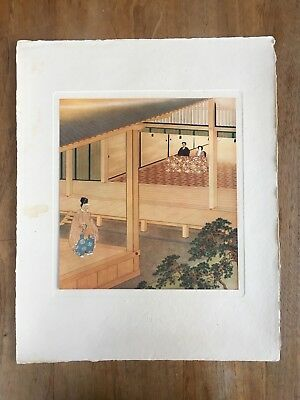 """c.1940s """"THE EMPEROR AND THE EMPRESS DOWAGER AT A NOH PLAY"""" ÔKOKU PAINTING PRINT"""