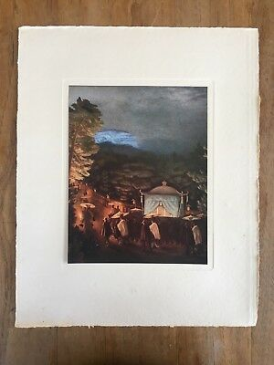 "c.1940's ""THE IMPERIAL FUNERAL"" WADA SANZÔ MEIJI PAINTING PRINT JAPANESE ART"