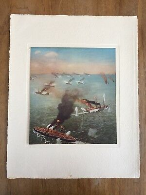 "c.1940's ""THE BATTLE OF THE YELLOW SEA"" ÔTA KIJIRÔ MEIJI PAINTING PRINT JAPAN"