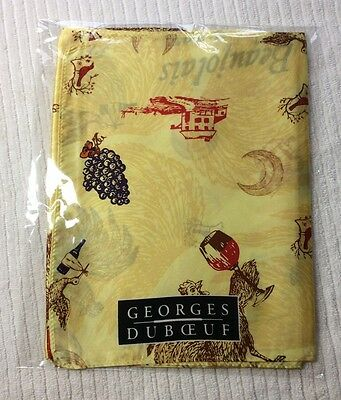 Womens Silk Scarf Beaujolais Nouveau Yellow Rooster Wine Georges DuBoeuf 2016