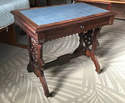 Walnut Eastlake Table, c.1890 with Blue Top Covering in Excellent Condition