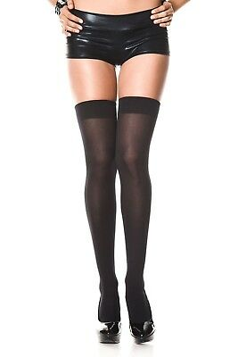 Black Thigh High Stockings Over knee Sheer Opaque Pantyhose Tights Women Hoisery