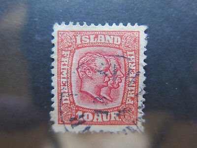 ICELAND 10 AUR POSTAGE STAMP in VERY GOOD COLLECTABLE CONDITION c1908