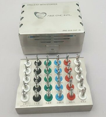 Dental Implant Conical Drills Kit with Stopper Set of 30 PCs/ Implant Kit 11p1