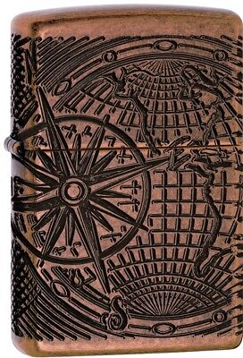 Zippo Deep Carved Multicut Globe 360 Degree Engraved Copper Windproof 29853 NEW!