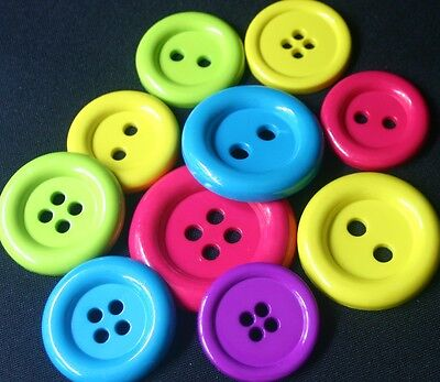 10 Large Bright Resin Buttons - Sewing, Craft, Scrapbooking