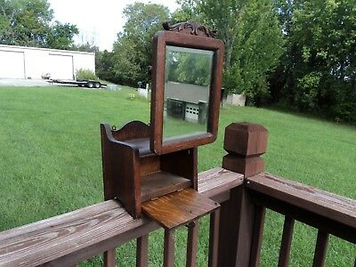 Antique Oak Shaving Stand - With Adjustable Beveld Mirror Table Top / Wall Mount
