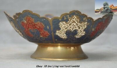 """6"""" Antiques Old China dynasty palace bronze Cloisonne flower Tea cup bowl statue"""