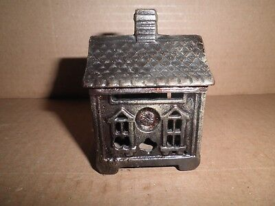 Great old original cast iron Quadrafoil House still penny bank 1904 - 1926