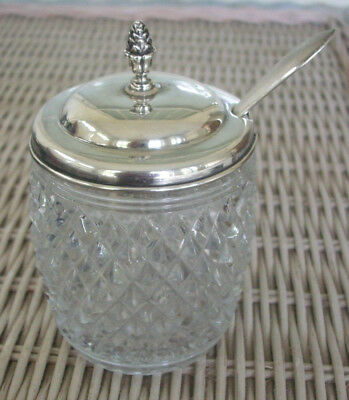 Rogers Lunt & Bowlen Mustard/Honey/Condiment Pot with Sterling Lid and Spoon