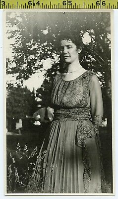 50111138444c Vintage 1910's photo / Enigmatic Woman in Edwardian Dress with Floral Silk  Top