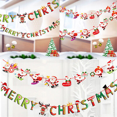 Merry Christmas Banner Felt Christmas Santa Flags Banner Hanging Decoration EA