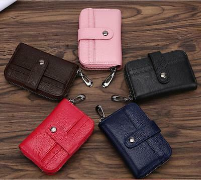 Genuine Leather Wallets RFID Blocking Purse Credit Card ID Holders Multifunctio