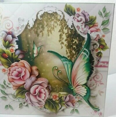 Handmade mothers day 3D birthday card butterflies and pretty roses card