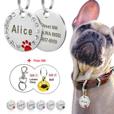 Bling Personalised Engraved Dog Tags Glitter Paw Print Round Tag Dog ID Tags