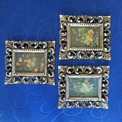 3 Vintage Antique Small Picture Frames Ornate Floral Made in USA Resin/Plastic