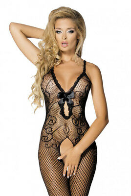 Sexy Lingerie Body Stocking Plus Size Floral Lace Bow Open Crotch Bodysuit