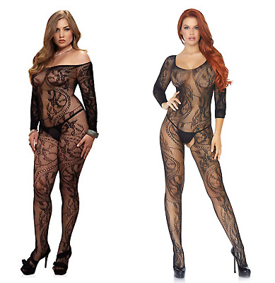 Womens Sexy Lingerie Body Stocking Lace Floral Long Sleeve Open Crotch Plus Size