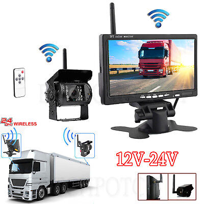 """Wireless Rear View Backup Camera Night Vision + 7"""" LCD Monitor for RV Truck Kit"""