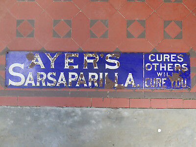AYER'S SARSAPARILLA CURES OTHERS WILL CURE YOU ENAMEL SIGN c1910 & RARE