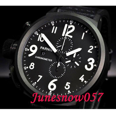 50mm PVD PARNIS mens watch black dial big face Full chronograph Quartz movement