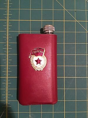 CCCP USSR STAINLESS STEEL  FLASK In a  Red Leather Case And Lenin Cap