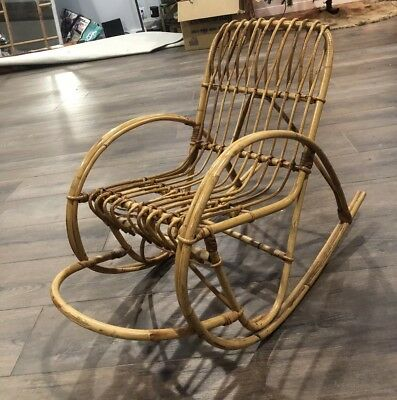 Vintage Antique Early Childs Bent Wood Wicker Bamboo Rattan Rocker Rocking Chair