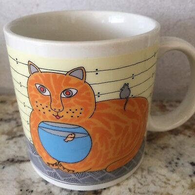Vintage 1987 Taylor & Ng Cat & Fish Bowl Coffee/ Tea Mug Cup