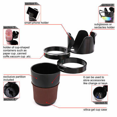 Multi-Function Car Cup Holder Organizer Box Storage Rotatable For Phone Drink