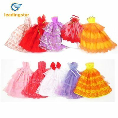 6 Fashion Princess Dresses Party Wedding Clothes Outfits Gown For Doll