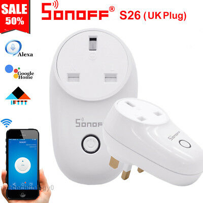 Sonoff S26 UK Plug TFTTT WIFI Smart Power Socket Wireless Time For Alexa Google