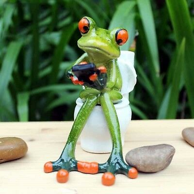 Frog Toilet Sculpture Model Resin Kawaii Figurines Toys Craft Home Decor Sitting