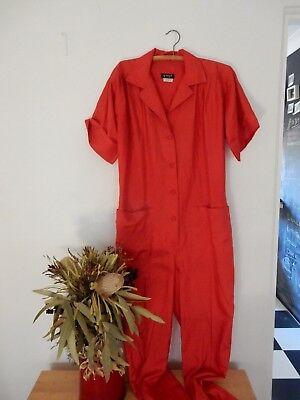 Vintage Red Jumpsuit Boilersuit Size Small - Medium Retro Festival Polyester