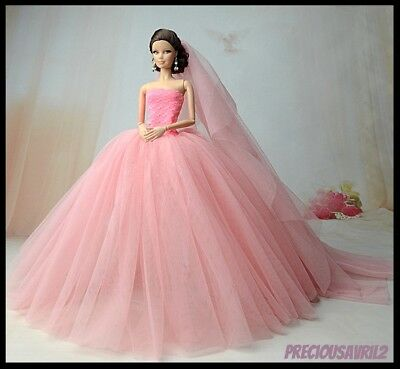 New Barbie doll clothes outfit princess wedding dress gown pink netting gown.