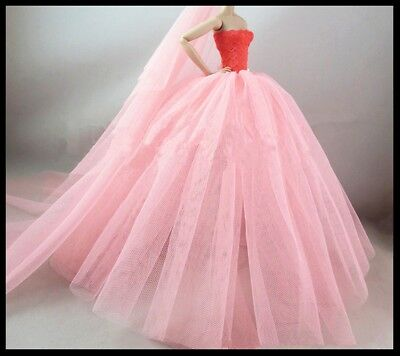 New Barbie doll clothes outfit princess wedding dress gown orange net gown.