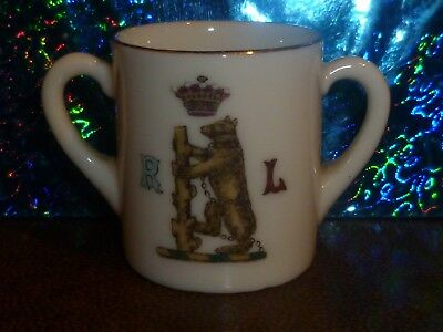 WH GOSS Crested China 2 handle Loving Cup. Bear & Raged Staff R.L, & Warwick